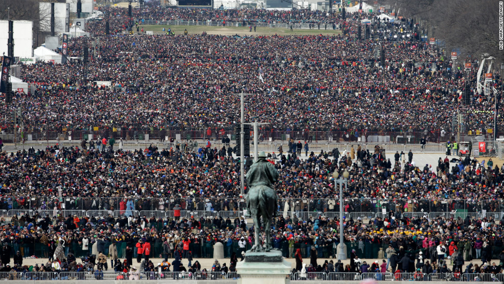 People gather for the presidential inauguration on the West Front of the U.S. Capitol on January 21.