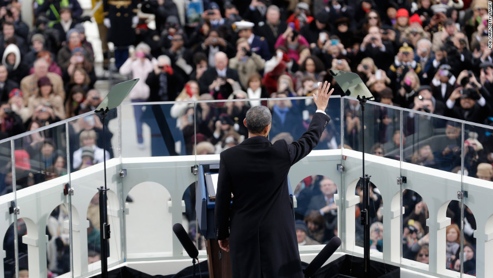 Obama waves during the public ceremonial inauguration on January 21.