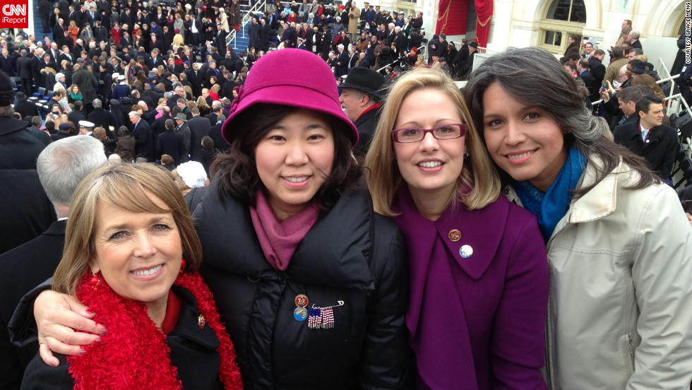 "Freshman Congresswoman Grace Meng, D-New York, shared a photo of herself with some of her fellow female freshmen. From left: Rep. Michelle Lujan Grisham, D-New Mexico; Meng; Rep. Kyrsten Sinema, D-Arizona; and Rep. Tulsi Gabbard, D-Hawaii. ""It was really emotional for us freshmen,"" said Meng, who uploaded this photo to CNN iReport."