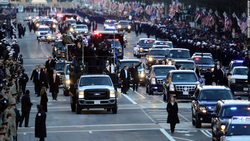 The president walks a stretch of Pennsylvania Avenue on the parade route during the 57th presidential inauguration on January 21.