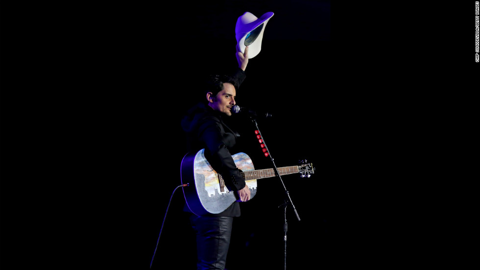 Brad Paisley waves to the crowd during his performance at the Commander-In-Chief's Ball.