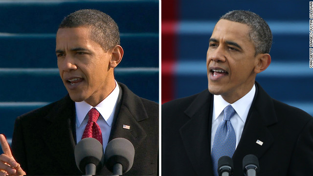Barack Obama delivers his inaugural addresses on January 20, 2009 and January 21, 2013.