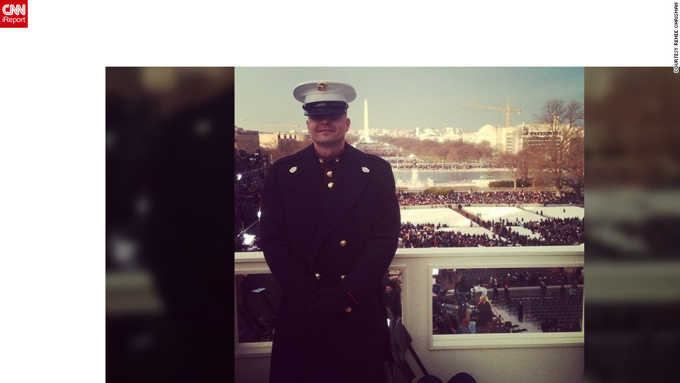 "Gunnery Sgt. Bradley Chrisman was chosen to escort inaugural VIPs onto the platform. ""It is such an honor,"" said his wife, Renee Chrisman (@reneechrisman), who was at home with their children in North Carolina watching the festivities on TV.  They caught a glimpse of him standing near the president."
