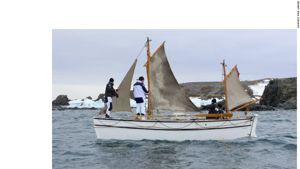 The replica is called the <em>Alexandra Shackleton</em>, named after Ernest Shackleton's granddaughter. Here the crew is seen testing the waters in Admiralty Bay, on the southern coast of Antarctic King George Island.