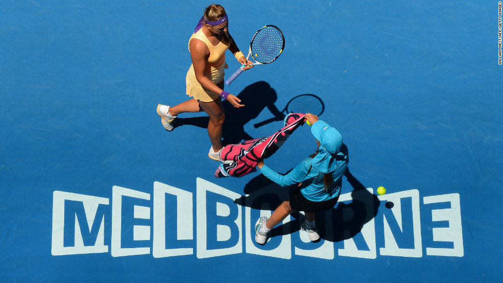 Azarenka receives a towel during her match on January 23.