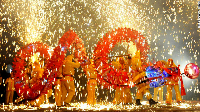 Taijiang County in Guizhou Province celebrated the 2011 Lunar New Year with dancing dragon and fireworks.