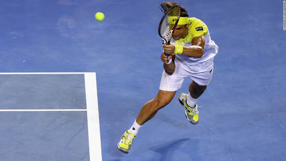 Ferrer plays a backhand on January 24.