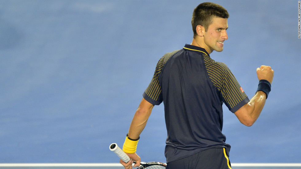 Djokovic reacts after a point against Ferrer on January 24.