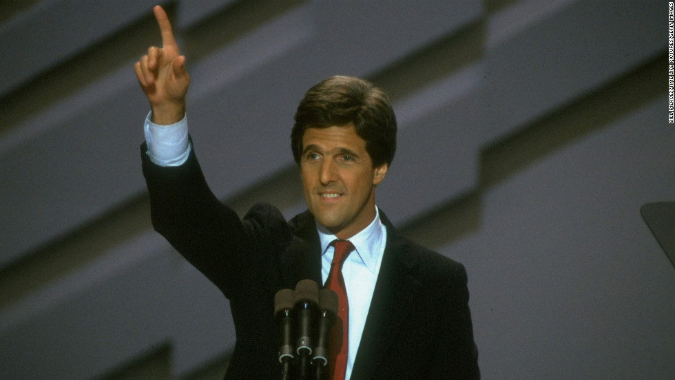 Kerry addresses the Democratic National Convention in 1988.