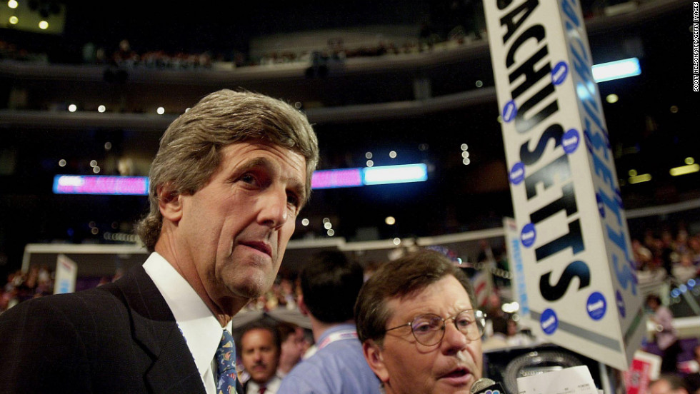 Kerry walks the floor of the Democratic National Convention on August 15, 2000, at the Staples Center in Los Angeles.