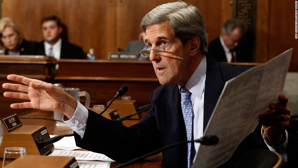 Kerry gives a statement during a hearing of the Senate Environment and Public Works Committee on Capitol Hill on October 27, 2009.