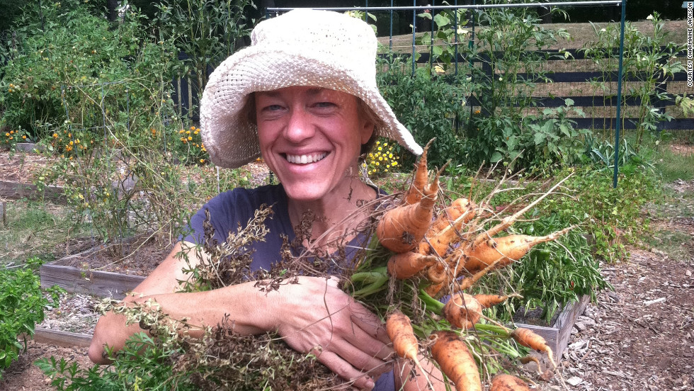 "In 2010, Jackson grew carrots for the first time in her garden plot at the Alpharetta Community Garden in Georgia. ""I felt fantastic losing weight and getting healthy,"" she says."