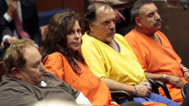 Former Bell, California, officials (from left) Robert Rizzo, Angela Spaccia, Victor Bello and Oscar Hernandez appear in court in September 2010.