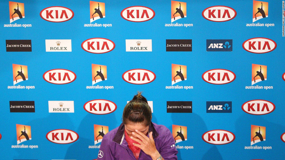 Na Li of China pauses during a news conference on January 25.