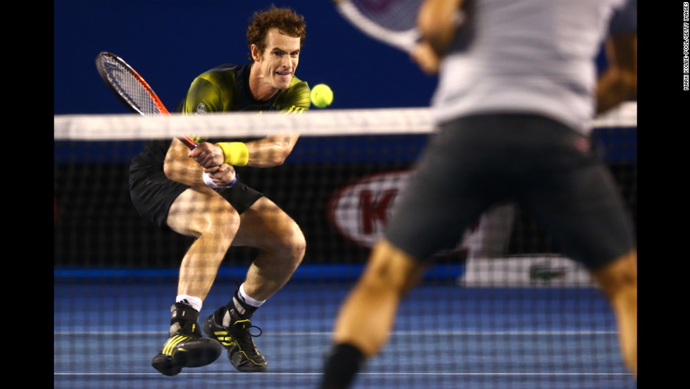 Andy Murray of Great Britain plays a backhand on January 25.