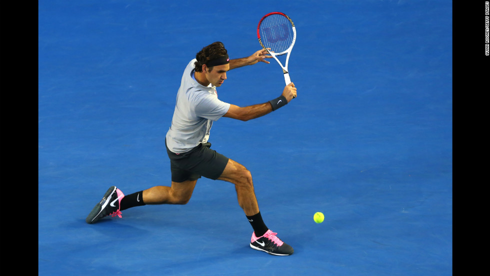 Roger Federer of Switzerland plays a backhand on January 25.