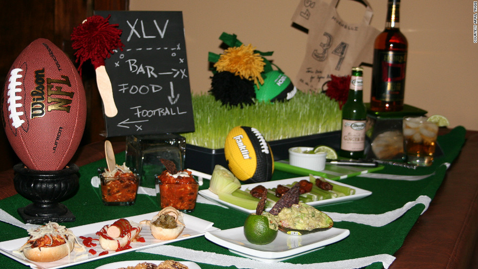 Eventologie's Super Bowl party spread includes recycled foam footballs, wheatgrass and food items that don't require plates or cutlery.