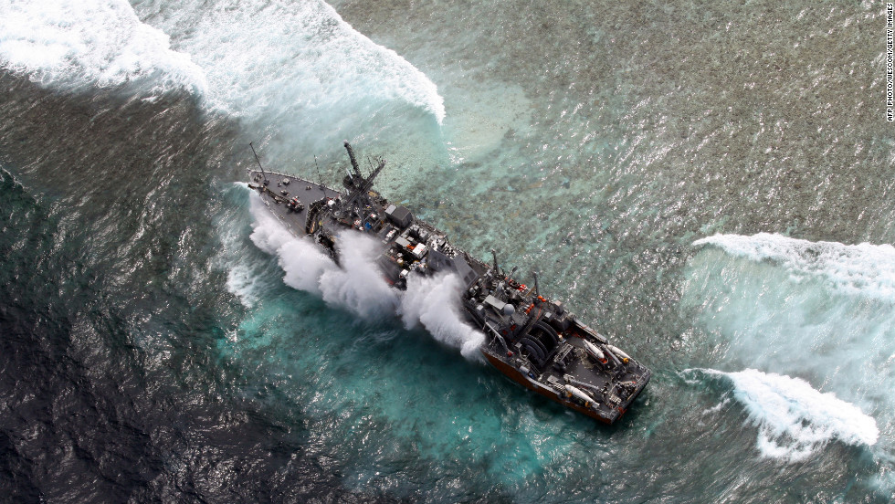 The Guardian on the Tubbataha Reef on January 19 in a handout photo from the Philippines military.