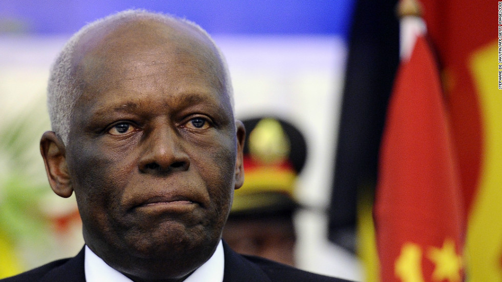 Angolan president Jose Eduardo Dos Santos, 73,  took office in 1979. He has received criticism for alleged corruption while in power.