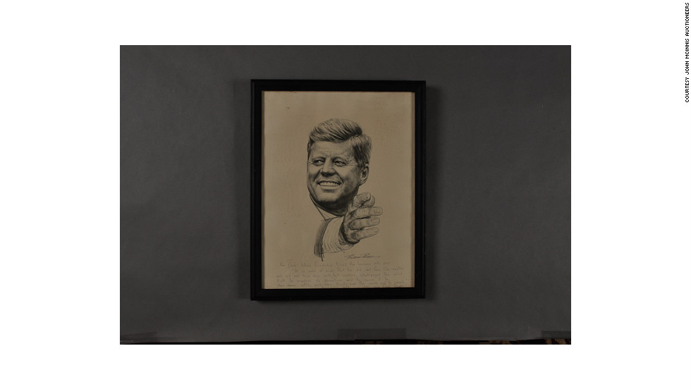 "Lithograph of Kennedy by Robert Rogers. Annotations to Dave Powers and signed ""Ethel."""