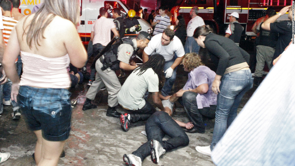 Victims were dragged out of the nightclub and received preliminary medical treatment on the ground.