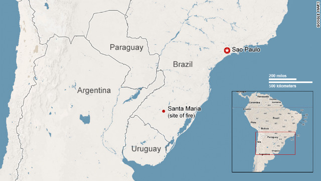 Map: Brazil nightclub fire