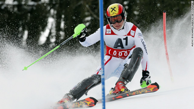 Austria's Marcel Hirscher powered  to a stunning victory in Sunday's World Cup slalom in Kitzbuhel, Austria.
