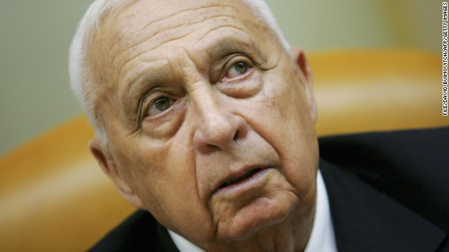 This file photo shows former Israeli Prime Minister Ariel Sharon opening the weekly cabinet meeting on October 9, 2005 at his office in Jerusalem.