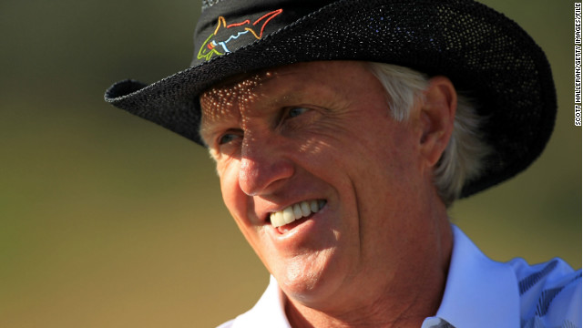 Greg Norman of Australia waits on the practice ground during the second round of the Humana Challenge In Partnership With the Clinton Foundation on the Nicklaus Private Course at PGA West on January 20, 2012 in La Quinta, California. (Photo by Scott Halleran/Getty Images)