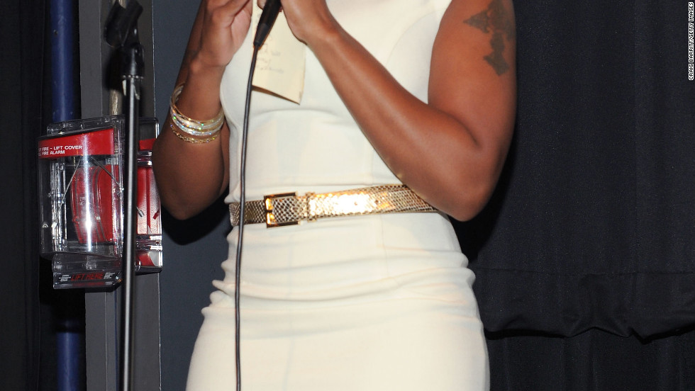"Mary J. Blige speaks at the premiere of ""Betty & Coretta"" in New York City."