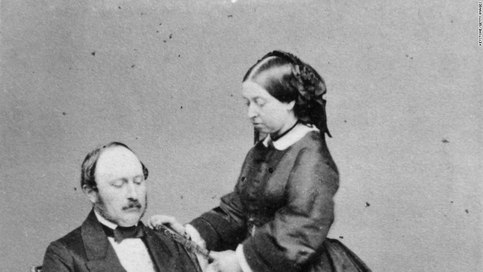 Queen Victoria and her beloved Prince Albert, the Prince Consort, at Buckingham Palace, on May 15, 1860.  Victoria, George III's granddaughter, reigned from 1837 until her death, at the age of 81, in 1901.