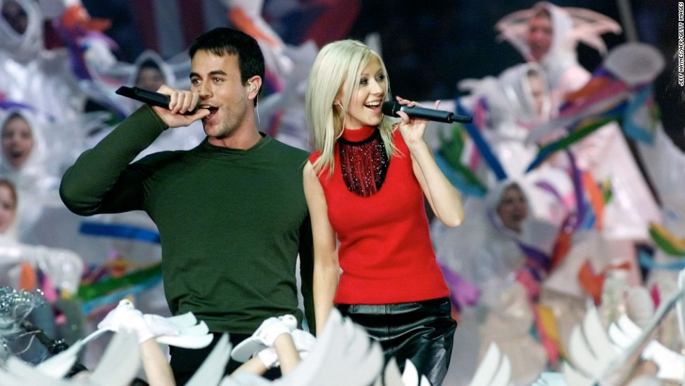 "In 2000, Christina Aguilera, Enrique Iglesias, Phil Collins and Toni Braxton performed in another <a href=""http://www.youtube.com/watch?v=WN3okGx0rp8"" target=""_blank"">Disney-themed halftime show</a>. The concept was ""Tapestry of Nations"" and included a song called ""Reflections of Earth"" and narration by actor Edward James Olmos. Need we say more?"