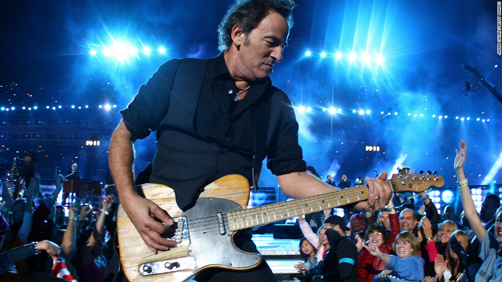 "Bruce Springsteen and the E Street Band took the stage in 2009, the same year he released his 16th studio album, ""Working on a Dream."" He urged viewers to ""put your chicken fingers down and turn the television set all the way up"" before launching into hard-rocking hits such as ""Born to Run"" and ""Tenth Avenue Freeze-Out."""