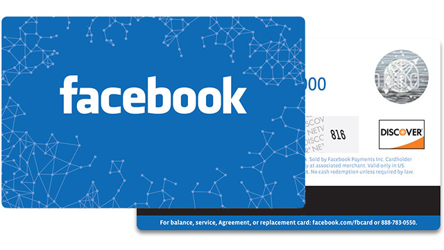 The Facebook gift card is ordered online and mailed to the recipient.
