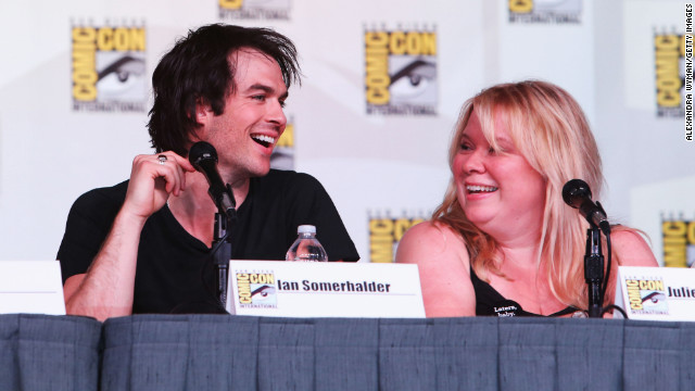 """The Vampire Diaries' "" Ian Somerhalder, left, and executive producer Julie Plec speak at Comic-Con in 2012."