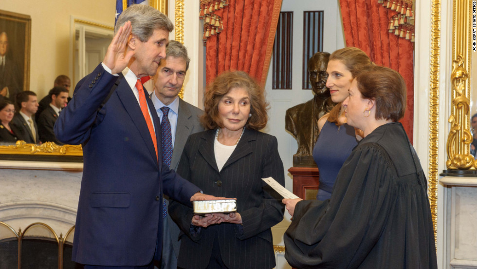 Sen. John Kerry, D-Massachusetts, is sworn in as secretary of state on Friday, February 1.