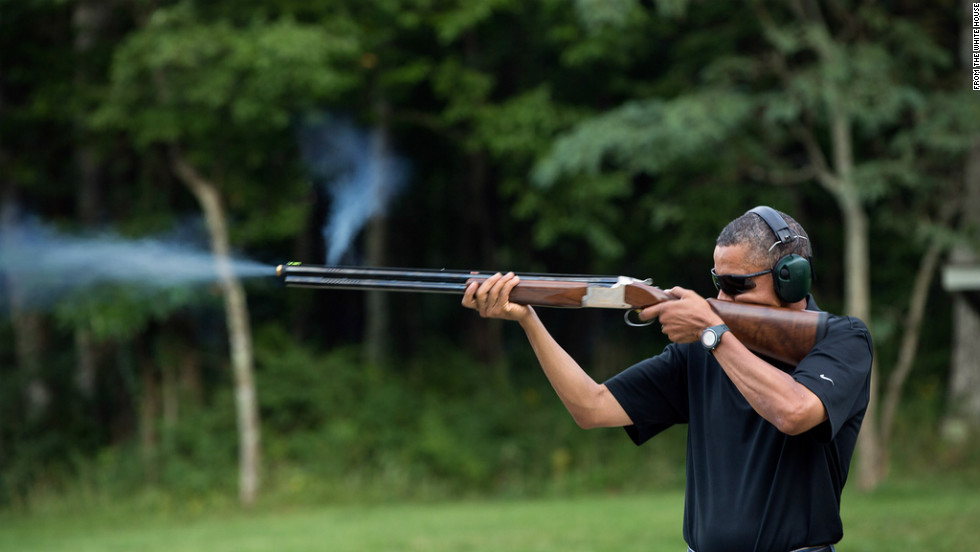 To back up President Barack Obama's statement that he goes skeet shooting regularly, which some Republicans questioned, the White House released this photo of Obama firing a gun at Camp David in August. See more commanders in chief taking advantage of their right to bear arms.