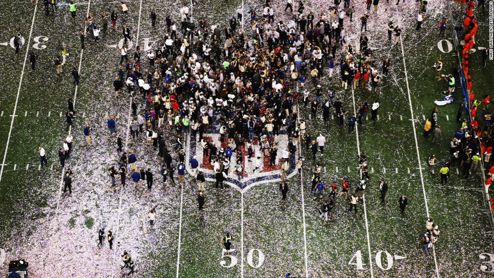 Confetti falls on the field as the Ravens celebrate their 34-31 victory over the 49ers.