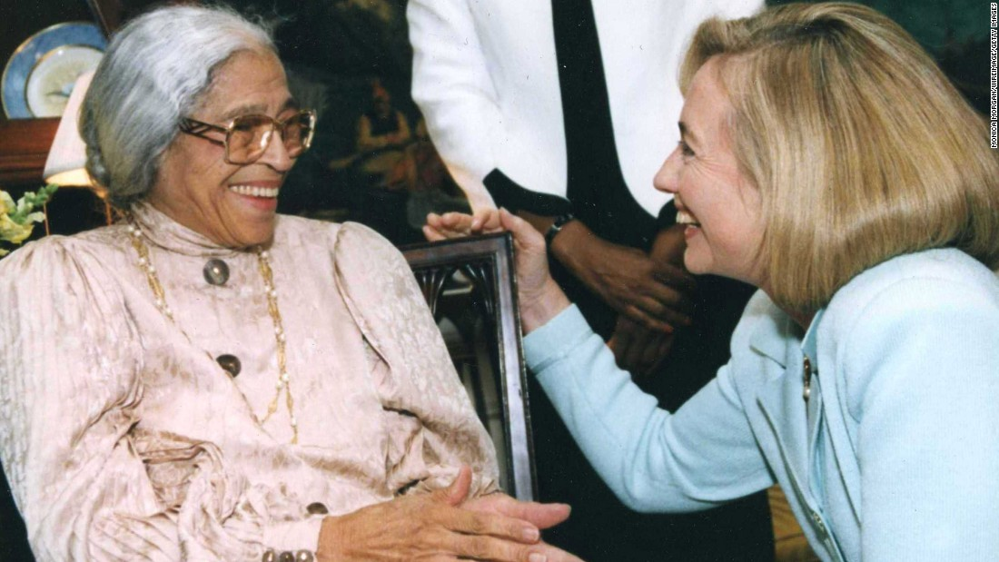 Hillary Clinton greets Parks at the White House in 1990.