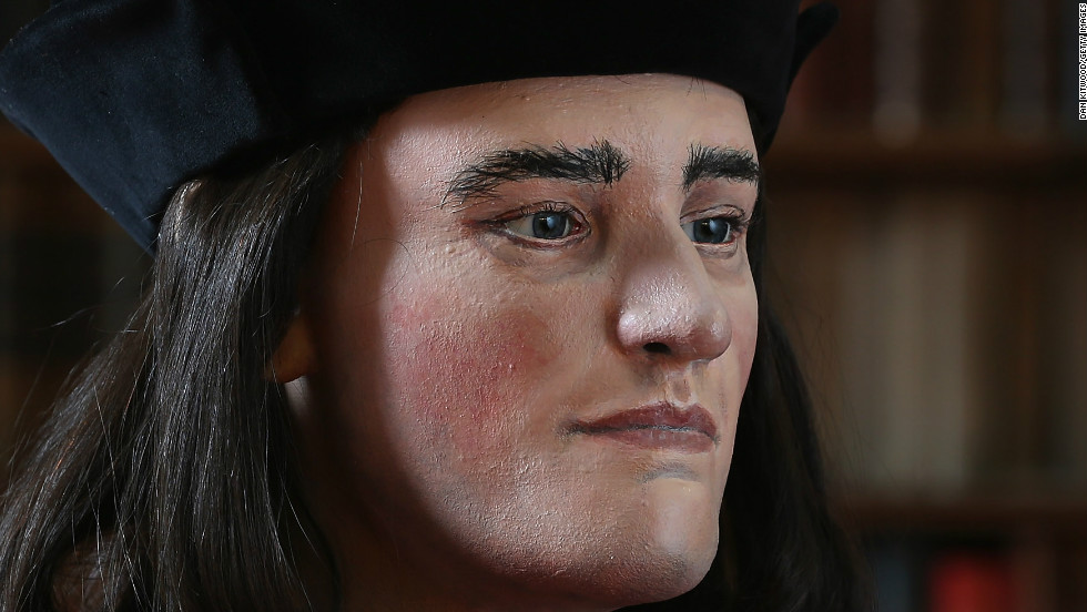 A facial reconstruction of King Richard III is unveiled by the Richard III Society on February 5, 2013 in London, England.