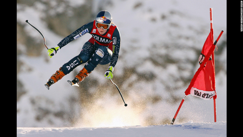 Kildow catches air during the women's downhill World Cup in Val d'Isere, France, on December 20, 2006.