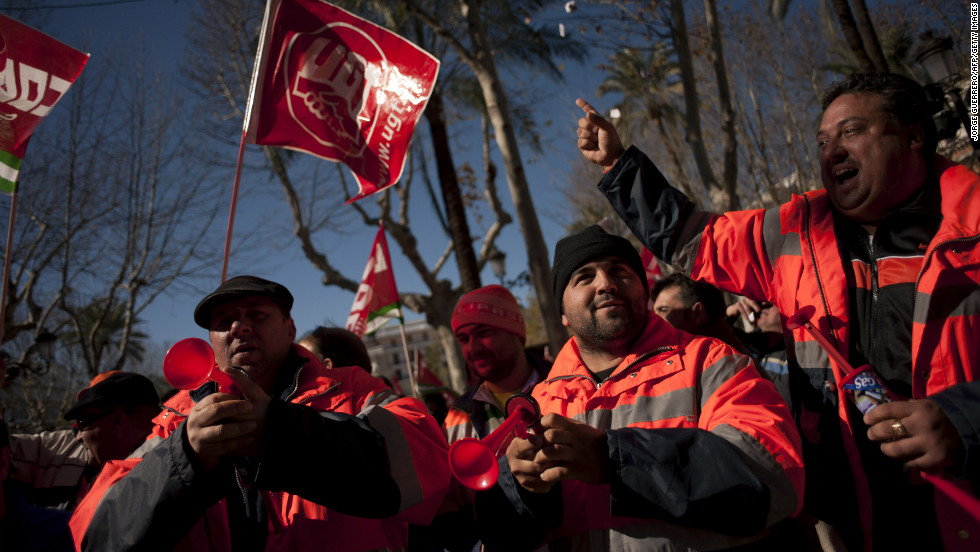 Sanitation workers protest austerity cuts in Seville on February  4.