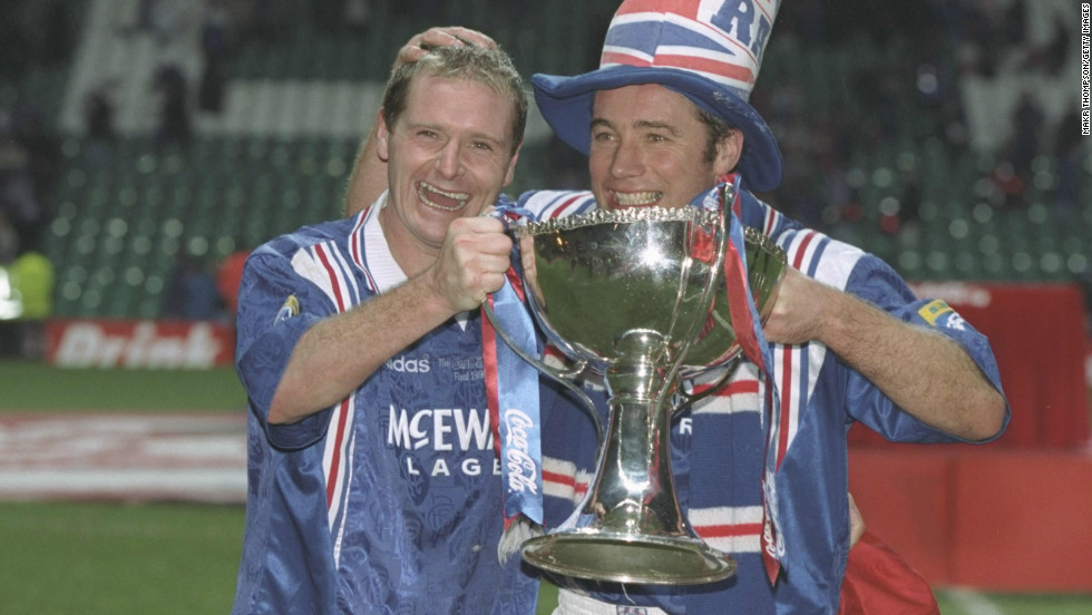 Gascoigne enjoyed league and cup success with Glasgow Rangers in the Scottish Premier League.