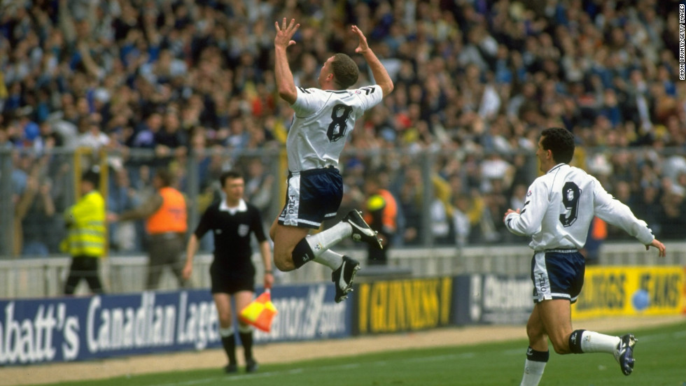 Gascoigne goes airborne after scoring a stunning goal in Tottenham's 1991 FA Cup semifinal win over Arsenal