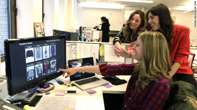 From back, Andrea Praet, Lauren Kaufman and Jaclyn Jones of WGSN put together seasonal trend reports for their clients.