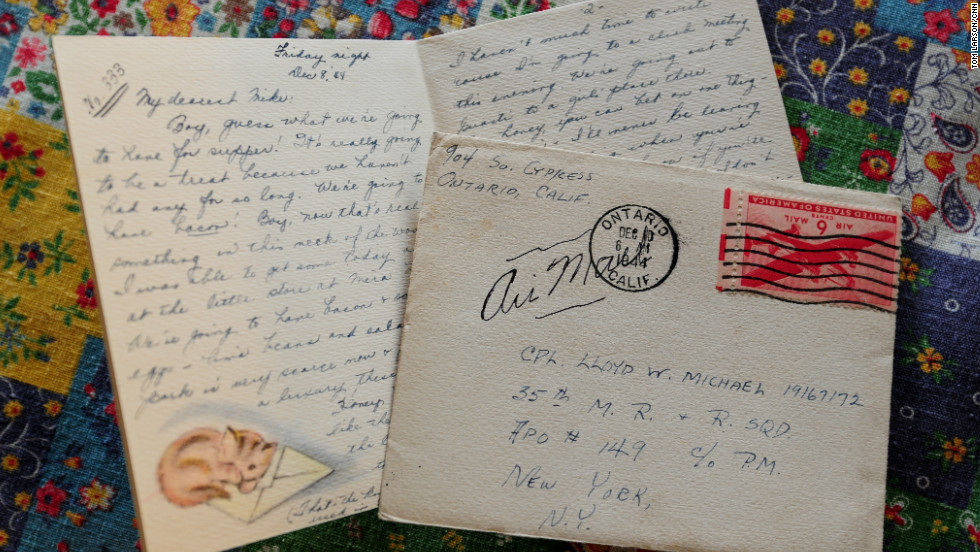 "Other letters recounted the couple's routines: ""Guess what we're going to have for supper!"" Marian wrote in this letter, dated December 8, 1944. ""It's really going to be a treat because we haven't had any for so long. We're going to have bacon!"" Most of the Michaels' letters, like this one, have upside down stamps, their way of saying ""I love you."""
