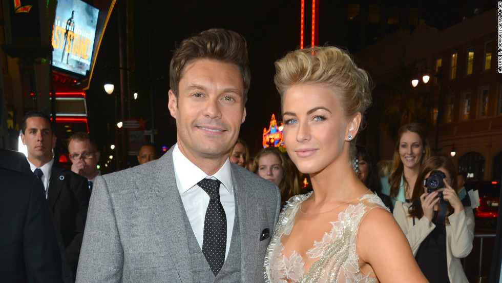 "Ryan Seacrest and his girlfriend Julianne Hough arrive at the premiere of her new movie, ""Safe Haven,"" on February 5."