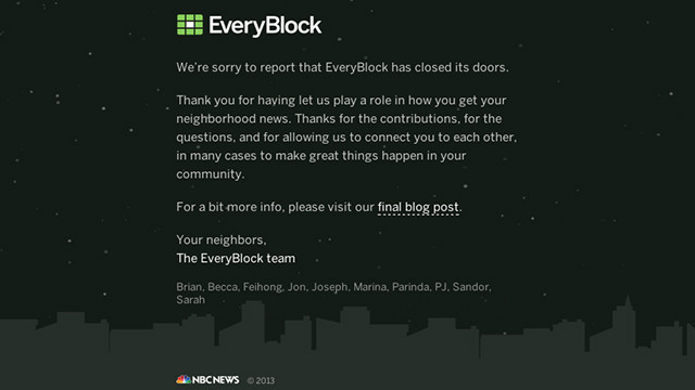 EveryBlock was launched in 2008 in Chicago, focusing on hyperlocal news.