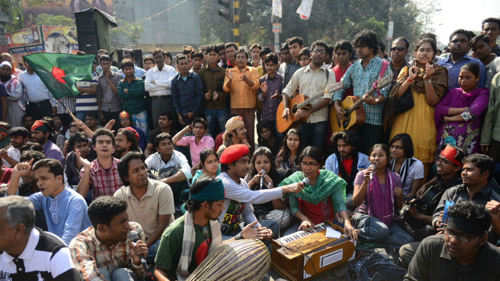 Bangladeshi social activists and bloggers demonstrate in Dhaka on February 6.