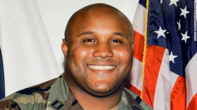 LOS ANGELES, CA - FEBRUARY 07: A picture provided by Los Angeles Police Department of alleged suspect Christopher Dorner is displayed during briefing on February 7, 2013 in Los Angeles, California. A former Los Angeles police officer Christopher Jordan Dorner, 33, who had allegedly warned he would target law enforcement, is suspected three police officers killing one. Dorner is also a suspect in two weekend killings of Monica Quan and Keith Lawrence who were found dead in a car inside a parking structure. (Photo by Kevork Djansezian/Getty Images)